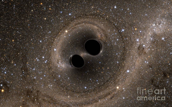 Photograph - Colliding Black Holes Make Waves by Science Source
