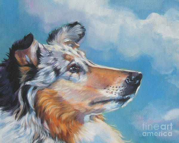 Collie Painting - Collie Blue Merle Portrait by Lee Ann Shepard
