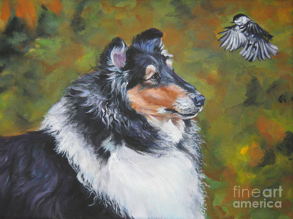 Wall Art - Painting - Collie Chickadee by Lee Ann Shepard