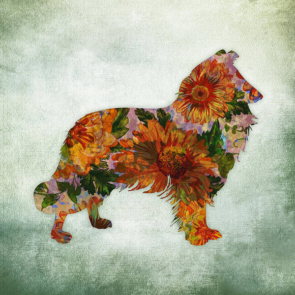 Smooth Digital Art - Collie Floral On Green by Flo Karp