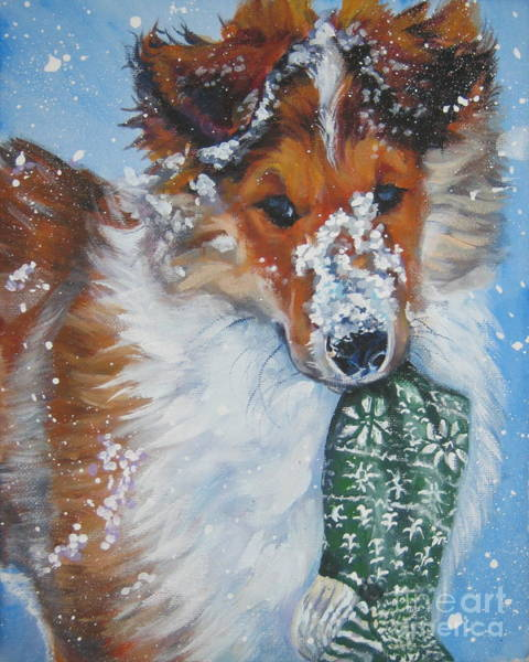 Collie Painting - Collie Puppy With Xmas Stocking by Lee Ann Shepard