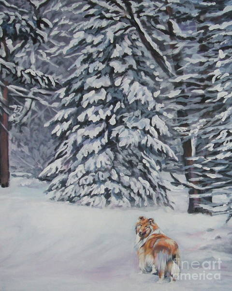 Wall Art - Painting - Collie Sable Christmas Tree by Lee Ann Shepard