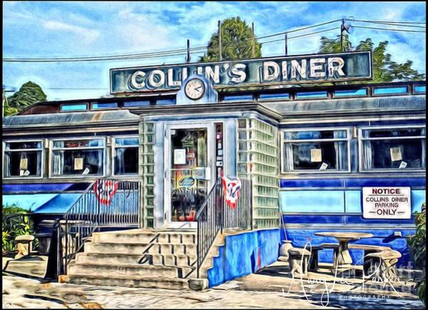 Land Mark Mixed Media - Collin's Diner New Canaan,conn by MaryLee Parker
