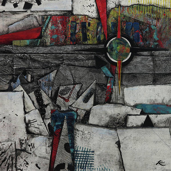 Triangle Mixed Media - Collision Course  by Laura Lein-Svencner