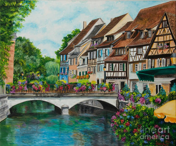 Half Timbered Painting - Colmar In Full Bloom by Charlotte Blanchard