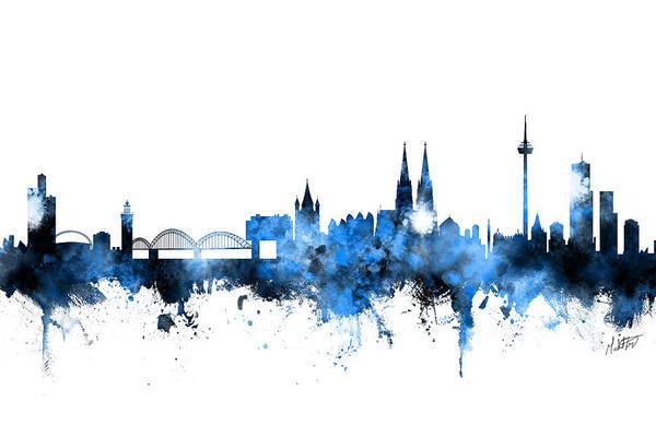 Wall Art - Digital Art - Cologne Germany Skyline Blue Signed by Michael Tompsett