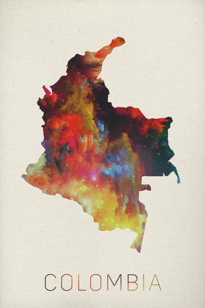 Colombian Wall Art - Mixed Media - Colombia Watercolor Map by Design Turnpike