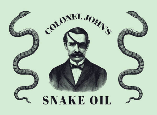 Oil Drawing - Colonel John's Snake Oil - Vintage Style Advertisement  by War Is Hell Store
