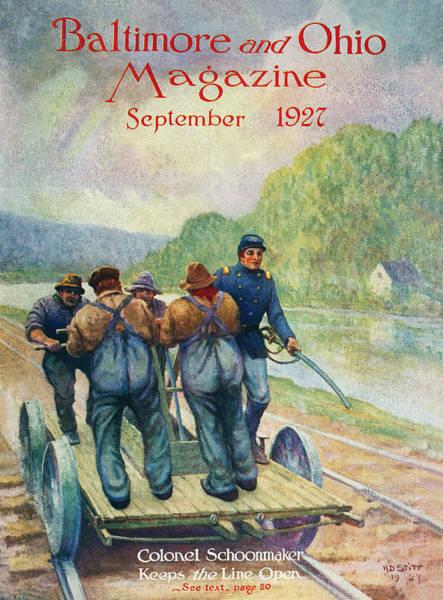 Ohio River Drawing - Colonel Schoonmaker Keeps The Line Open by Herbert Stitt