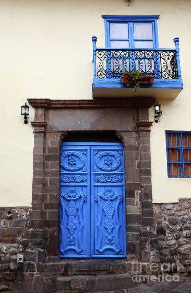 Photograph - Colonial Door In Cusco Peru by James Brunker