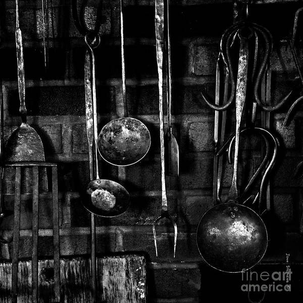 Wall Art - Photograph - Colonial Fireplace Cooking Tools Black And White Square by John Stephens