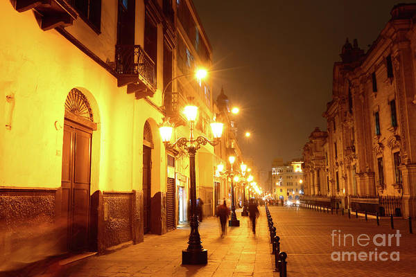 Photograph - Colonial Street In Central Lima At Night by James Brunker