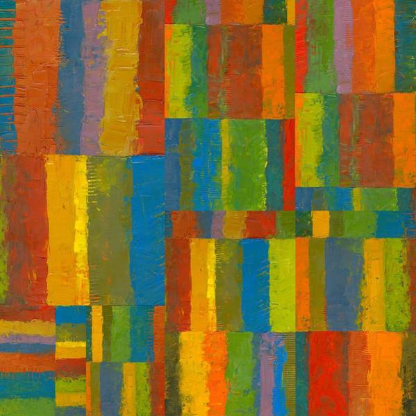 Painting - Color Collage With Stripes 2.0 by Michelle Calkins