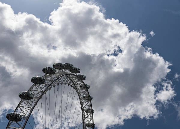 Complementary Colours Photograph - Color Coordinated Skyward View - The London Eye Against Dramatic Sky by Georgia Mizuleva