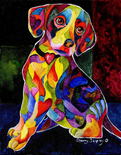 Painting - Color Me Beagle by Sherry Shipley