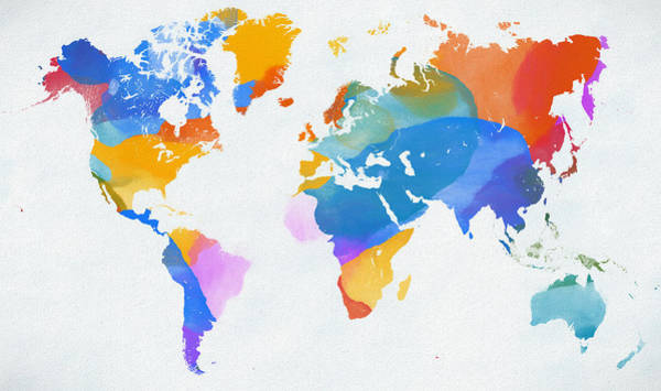 In Canada Painting - Color Splash World Map by Dan Sproul