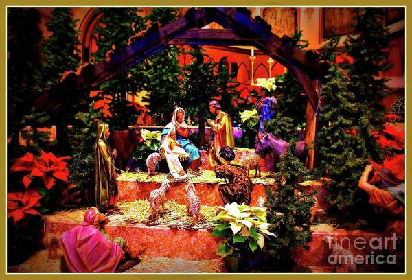 Photograph - Color Vibe Nativity - Border by Frank J Casella