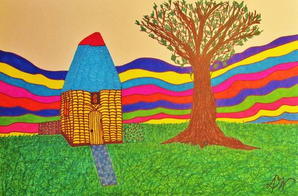 Beach Grass Drawing - Colorful Fantasy Land by Donna Wilson