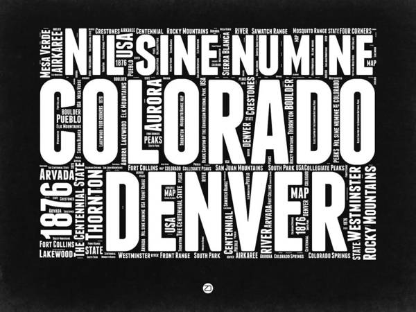 Colorado Digital Art - Colorado Black And White Word Cloud Map by Naxart Studio