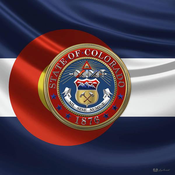 Digital Art - Colorado Great Seal Over Flag by Serge Averbukh