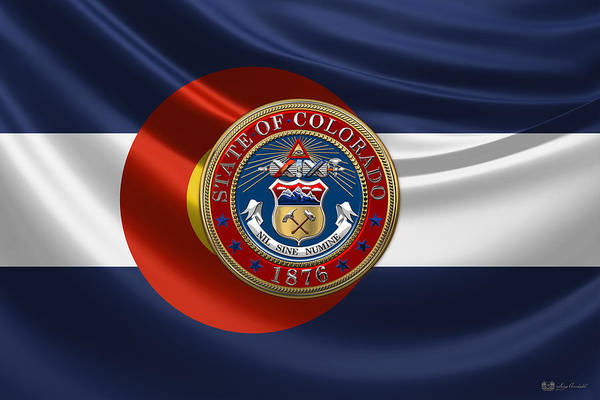 Digital Art - Colorado Great Seal Over State Flag by Serge Averbukh