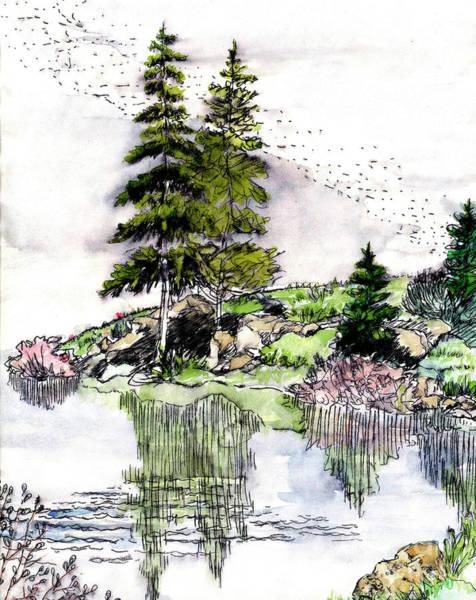 Wallpaper Mixed Media - Colorado Lake Reflections by Dale E Jackson
