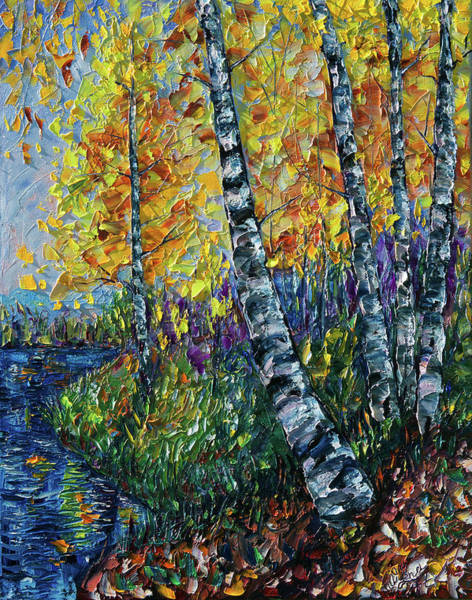 Painting - Glimpses Of Colorado Fall Colors by OLena Art - Lena Owens