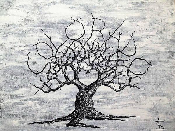 Drawing - Colorado Love Tree Blk/wht by Aaron Bombalicki