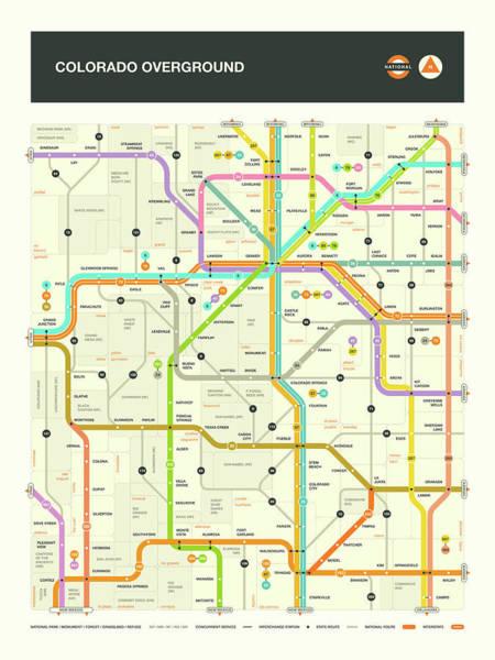 Subway Map Wall Art - Digital Art - Colorado Map by Jazzberry Blue