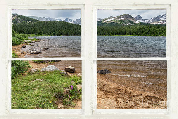 Photograph - Colorado Rocky Mountain Lake Love White Washed Window View by James BO Insogna
