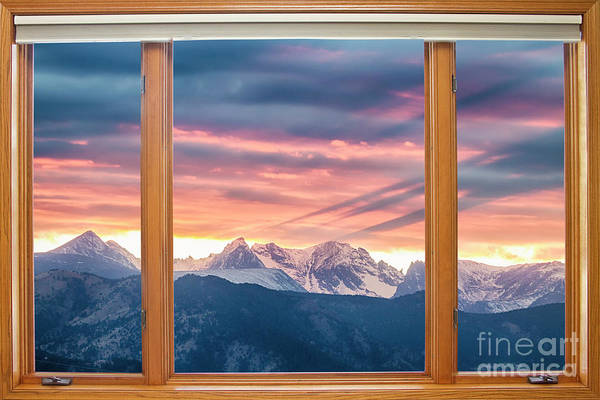 Wall Art - Photograph - Colorado Rocky Mountain Sunset Waves Classic Wood Window View 2 by James BO Insogna