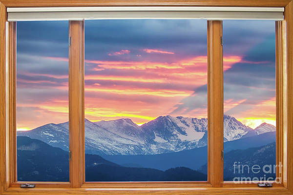 Photograph - Colorado Rocky Mountain Sunset Waves Classic Wood Window View  by James BO Insogna