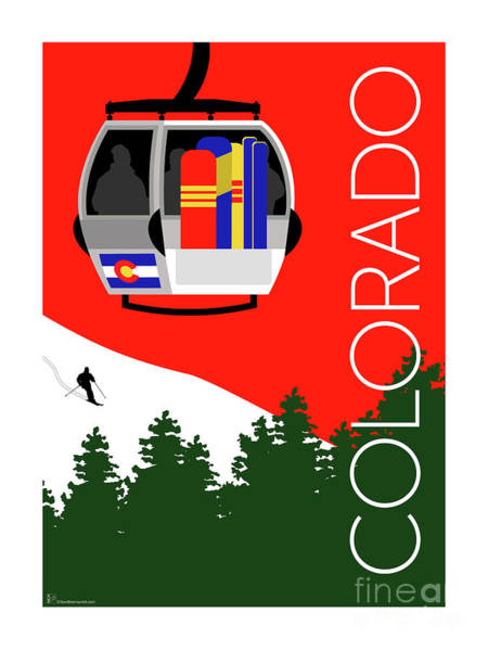 Digital Art - Colorado Ski Country Red by Sam Brennan