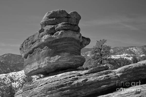 Photograph - Colorado Springs Balanced Rock Black And White by Adam Jewell