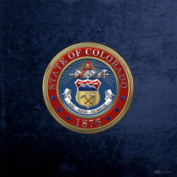 Digital Art - Colorado State Seal Over Blue Velvet by Serge Averbukh