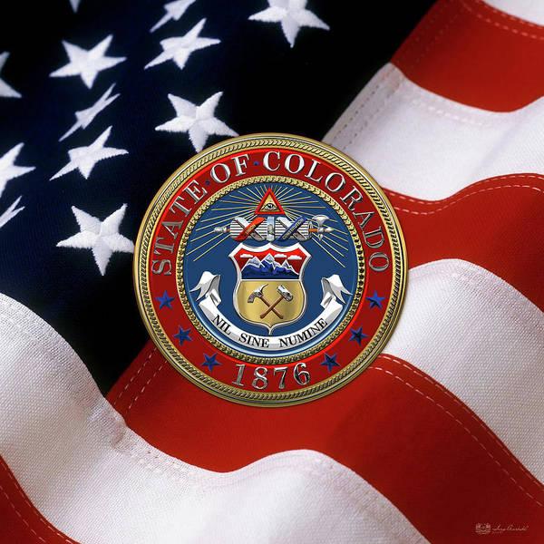 Digital Art - Colorado State Seal Over U.s. Flag by Serge Averbukh