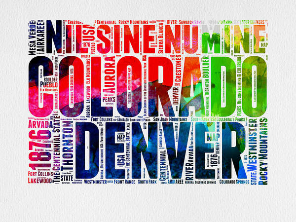 Wall Art - Digital Art - Colorado Watercolor Word Cloud Map  by Naxart Studio
