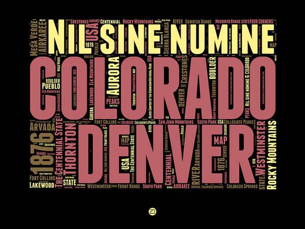 Wall Art - Digital Art - Colorado Word Cloud Map 1 by Naxart Studio