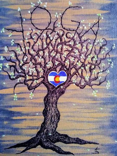 Drawing - Colorado Yoga Love Tree by Aaron Bombalicki