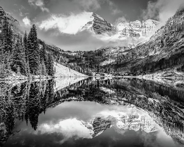Photograph - Colorados Maroon Bells Mountain Landscape Reflections In Black And White by Gregory Ballos