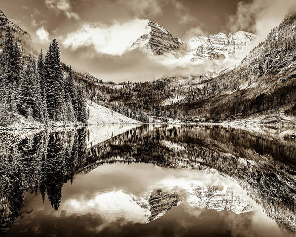 Photograph - Colorados Maroon Bells Mountain Landscape Reflections In Sepia by Gregory Ballos