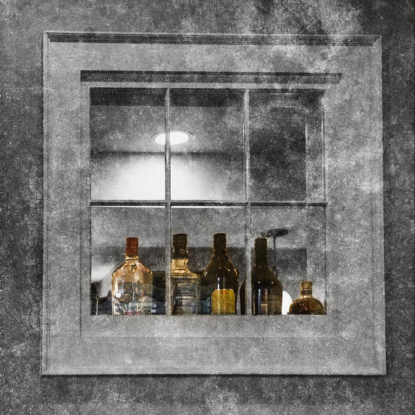 Photograph - Colored Bottles In Window by Tom Singleton