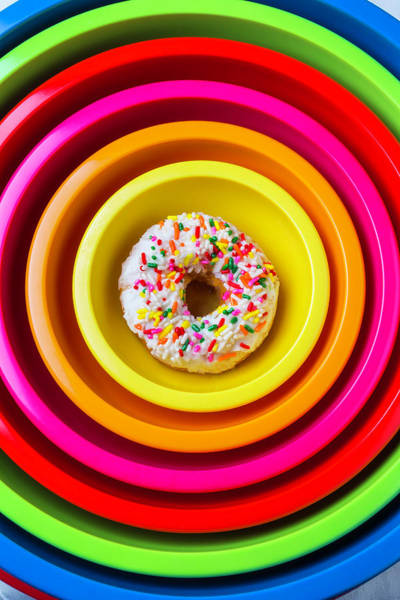 Glazed Wall Art - Photograph - Colored Bowls And Donut by Garry Gay