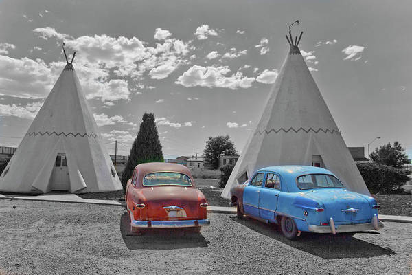 Photograph - Colored Cars And Tee Pee Motel--holbrook by Matthew Bamberg