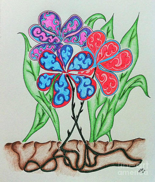 Michael Miller Wall Art - Drawing - Colored Flowers by Michael Miller