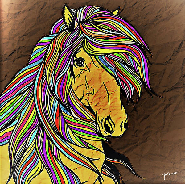 It Professional Painting - Colored Lines Of Horse by Rani S Manik