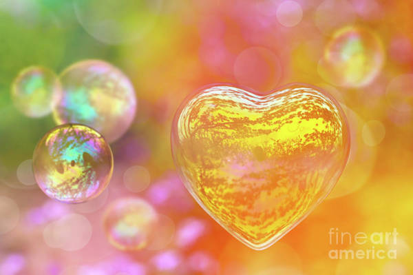 Wall Art - Photograph - Colored Love Bubble by Delphimages Photo Creations