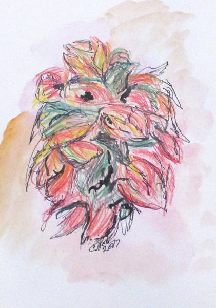 Drawing - Colored Pencil Flowers by Clyde J Kell