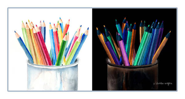 Colored Pencil Drawings Painting - Colored Pencils - The Positive And The Negative by Arline Wagner