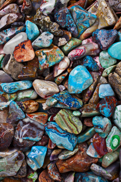 Hard Rock Photograph - Colored Polished Stones by Garry Gay